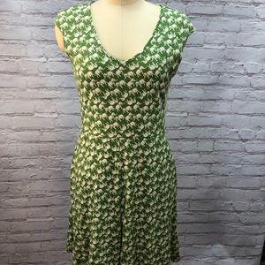 Green elephant dress cotton medium
